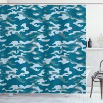 """Ambesonne Camo Shower Curtain, Camouflage Theme in Oceanic Colors Sea Water Inspired Illustration, Cloth Fabric Bathroom Decor Set with Hooks, 70"""" Long, Slate Blue"""