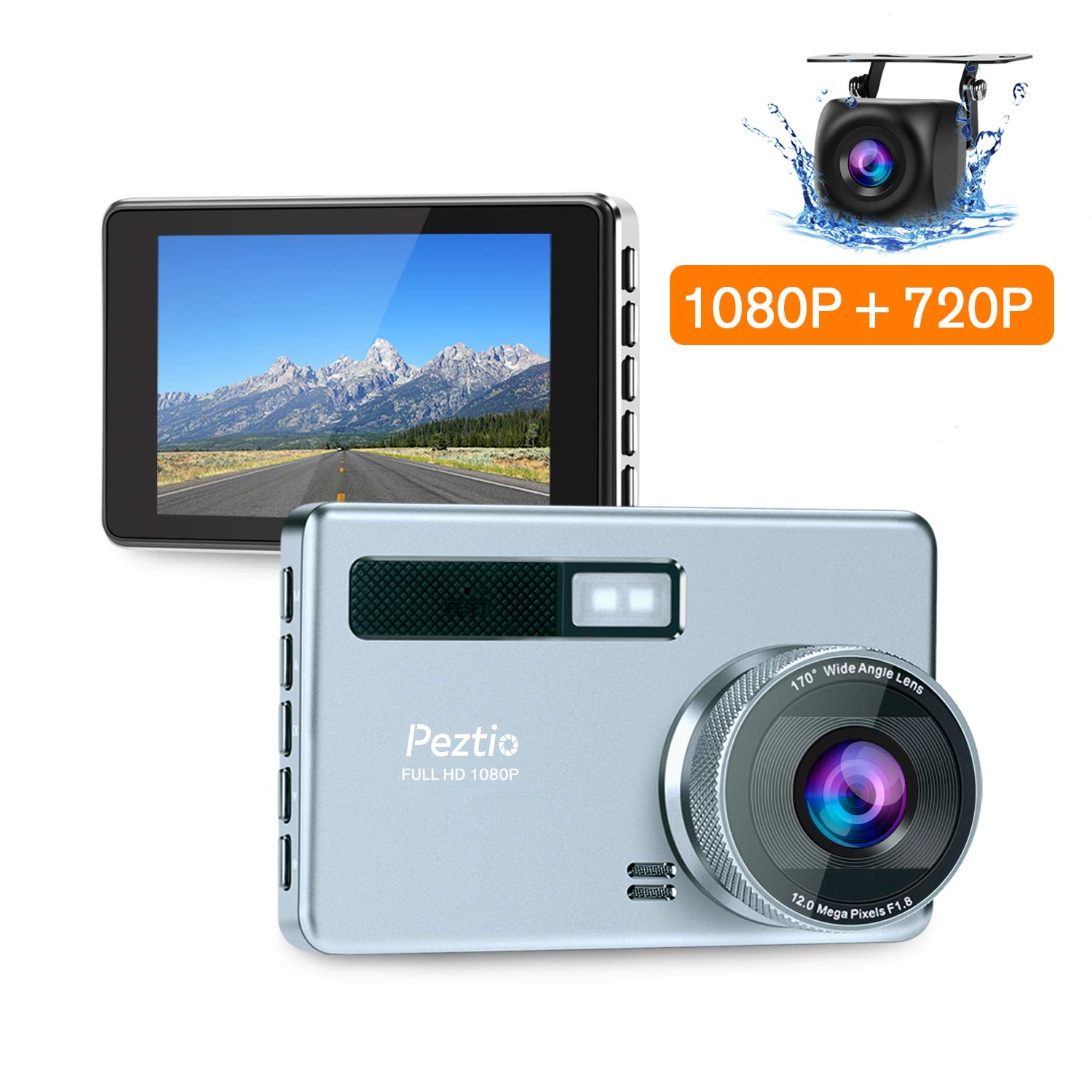 Dual Dash Cam Front and Rear, FHD 1080P Dash Camera for Cars with HD 720P Rear Camera, Night Vision, 3.2 inch IPS Screen, 170 Super Wide Angle, G Sensor, Parking Monitor, WDR, Motion Detection