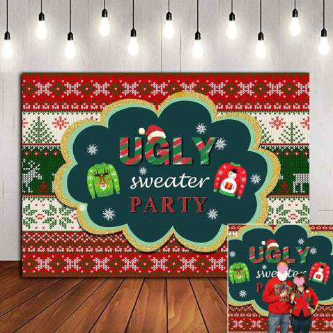 New 7x5ft Ugly Sweater Party Winter Christmas Photography Background Snowflake Merry Xmas Holiday Decoration Red Green Sweater Backdrops Photo Booth Banner Props Supplies