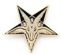 Real Sic Baphomet Head Enamel Pin – Sabbatic Goat Pentagram Tarot Occult Unisex Lapel Pin - for Backpacks, Jackets, Shirts, Bags, Tops