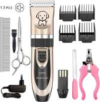 Showlovein Dog Clippers Pet Grooming Clipper Kits Dog Nail Clippers Low Noise Rechargeable Cordless Quiet Cat Dog Groomer Tool Hair Trimmer Razor Blades with Combs, Scissor