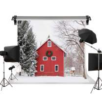 Kate 7x5ft/2.2m(W) x1.5m(H) Winter Photography Background White Snow Red Door Video Studio Backdrop Props