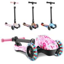 WeSkate Scooters for Kids, Foldable Scooter for Girls Boys, LED Lights Up 3 Wheels Scooter Adjustable Height, Great Gifts for Children Boys Girls Age 3 and Up