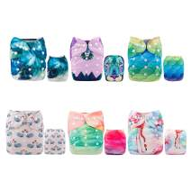 ALVABABY Reuseable Washable Pocket Cloth Diaper 6 Nappies + 12 Inserts 6DM34