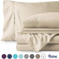 Bare Home 6 Piece 1800 Collection Deep Pocket Bed Sheet Set - Ultra-Soft Hypoallergenic - 2 Extra Pillowcases (King, Sand)