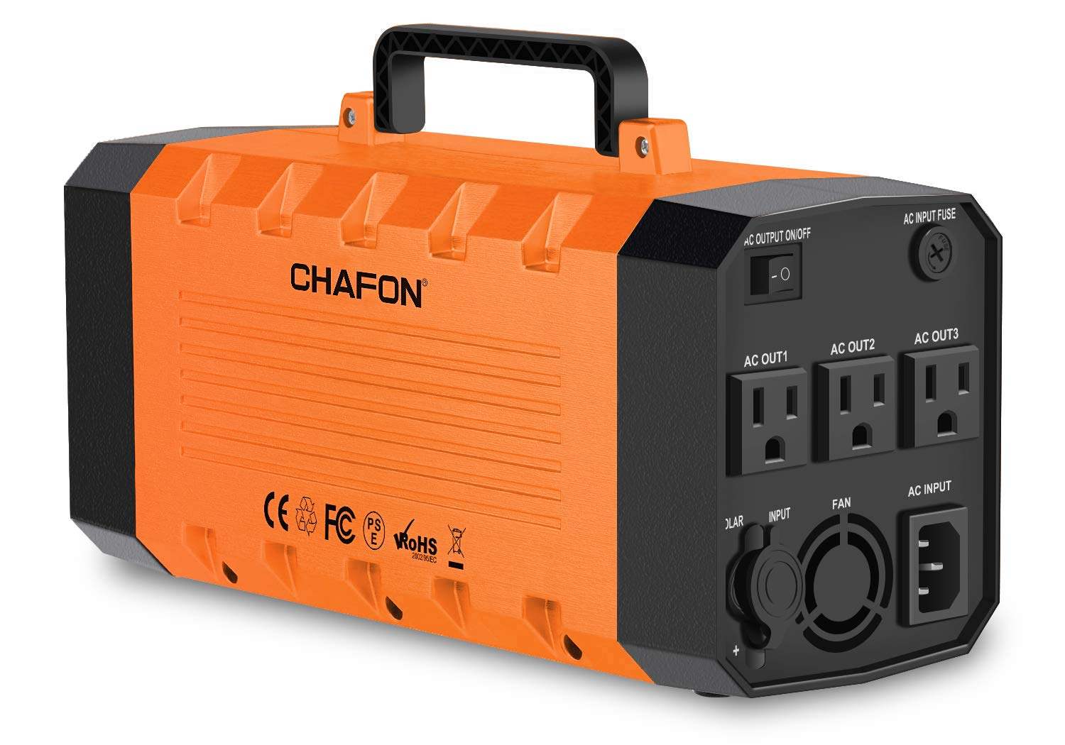 CHAFON 288WH Portable Generator UPS Battery Backup,Rechargeable Power Source Inverter with 110V/500W AC,12V Car,USB Ports for Camping -Orange