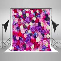 6.5ft(W) x10ft(H) Flower Wall Photography Background Violet Purple Floral Valentine's Backdrop Wedding Bridal Shower Floral Photo Studio Props for Photography Picture