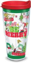 Tervis Peanuts Holiday 2019 Insulated Tumbler with Wrap and Red Lid, 24 oz, Clear