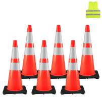 "BestEquip 6PCS Traffic Cones 36"", Safety Cones with Reflective Collar and Vest, PVC Orange Traffic Safety Cone, Black Base for Road Parking Soccer Training"
