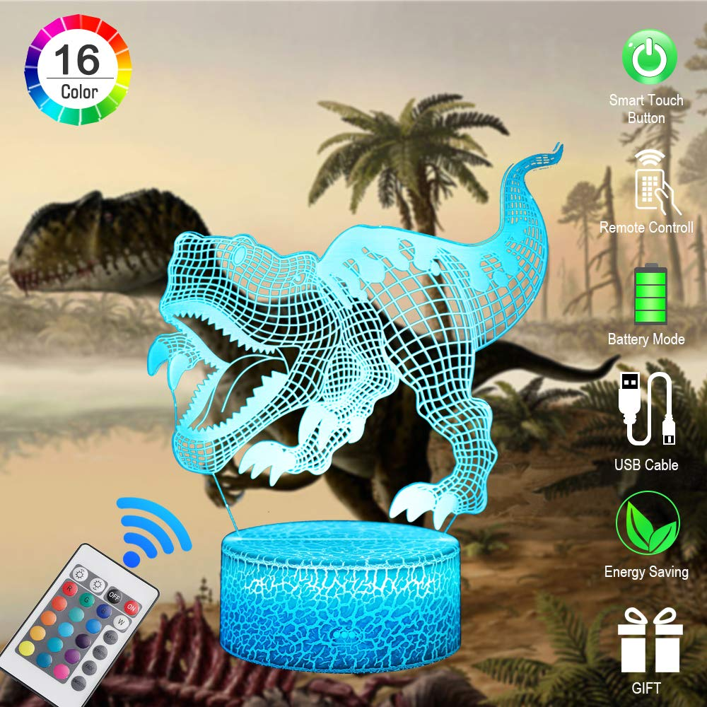 Boys Toys Dinosaur Party Supplies 16 Colors Changing Optical Illusion Bedroom Decor Lamp with Remote Control Dinosaur Gift for 2 1 3 4 5 6 7 and up Year Old Infants Toddlers Kids Adults