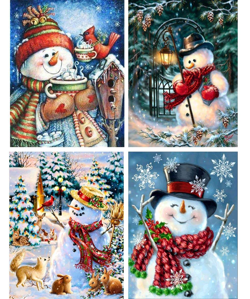 4 Packs Snowman Diamond Painting Kit for Adults, BENBO 15.8x11.8In DIY Full Drill Christmas Diamond Painting Kit by Numbers Cross Stitch Rhinestone Embroidery Arts Craft for Home Decor