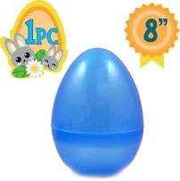 Jumbo 8-Inch Transparent Blue Glitter Easter Egg - The Perfect Size for Holding Toys, Candy Bars, and Stuffed Animals - Easy to Open, Tough to Break - Great As Party Favors and Easter Basket Stuffers