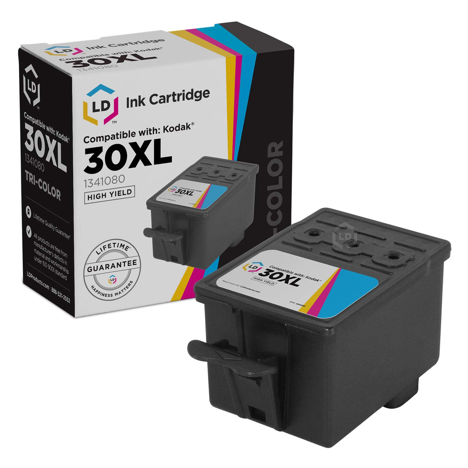 LD Compatible Ink Cartridge Replacement for Kodak 30XL 1341080 High Yield (Color)