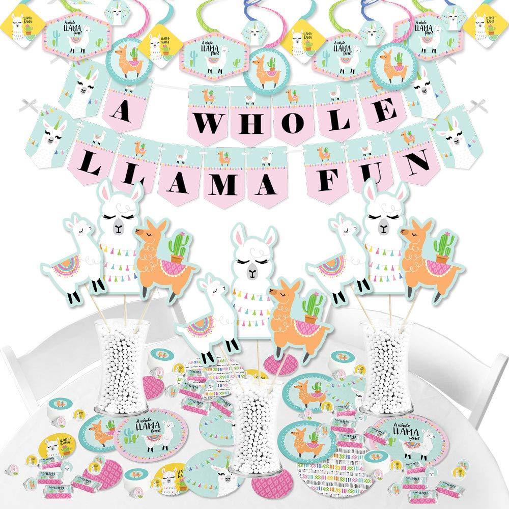 Big Dot of Happiness Whole Llama Fun - Llama Fiesta Baby Shower or Birthday Party Supplies - Banner Decoration Kit - Fundle Bundle