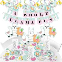 Big Dot of Happiness Whole Llama Fun - Llama Fiesta Baby Shower or Birthday Party Supplies - Banner Decoration Kit - Fundle Bundle