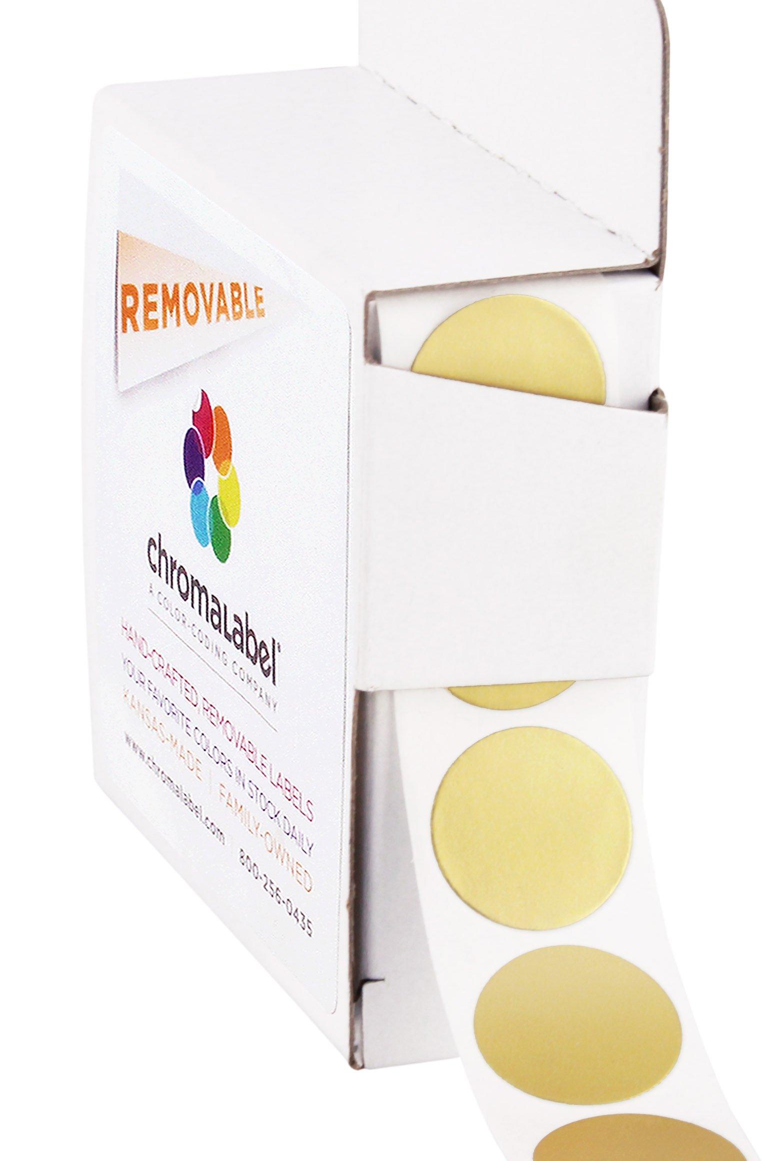 ChromaLabel 3/4 Inch Round Removable Color-Code Dot Stickers, 1000 per Dispenser Box, Gold