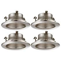 TORCHSTAR 4 Inch Recessed Can Light Trim with Satin Nickel Metal Step Baffle, for 4 inch Recessed Can, Fit Halo/Juno Remodel Recessed Housing, Line Voltage Available, Pack of 4