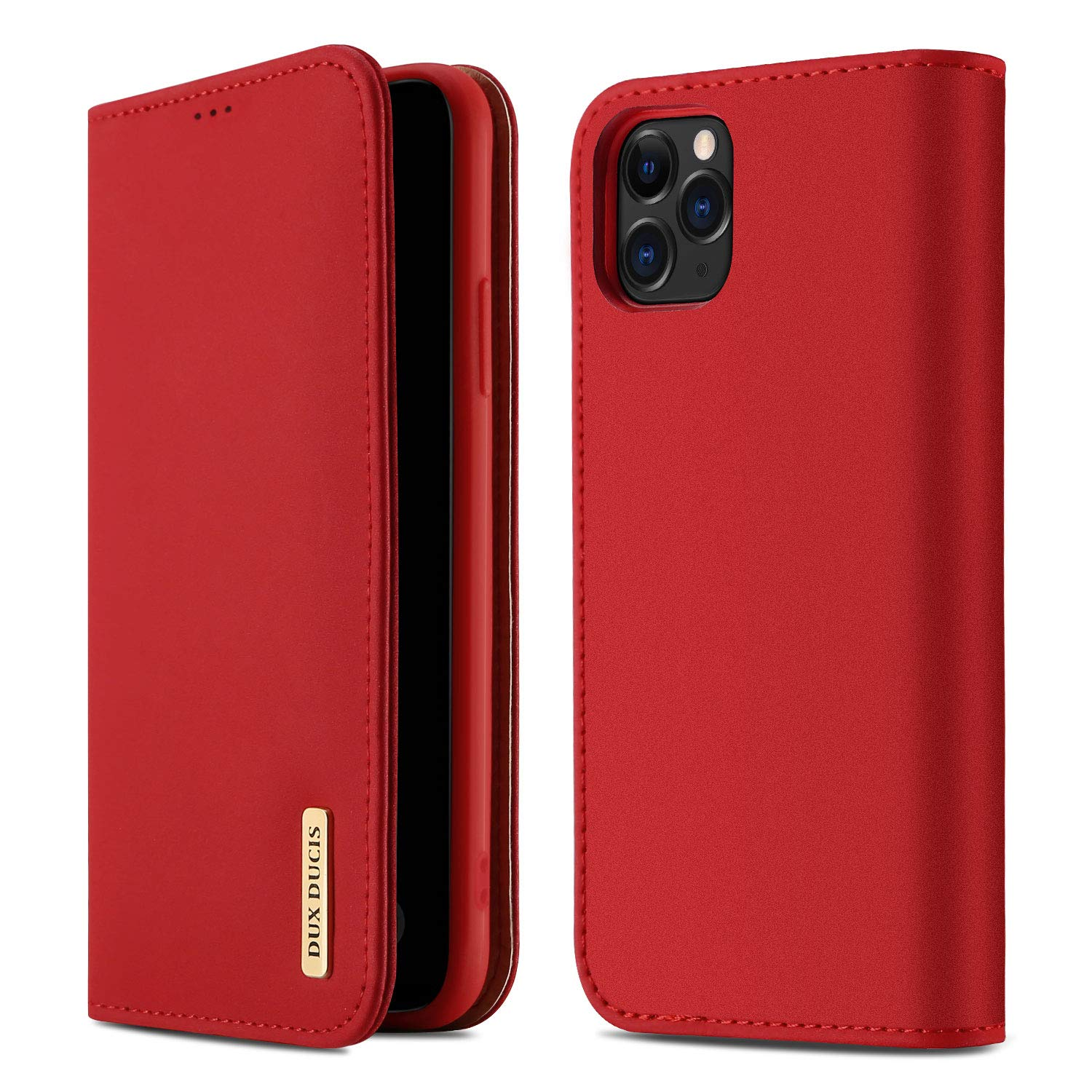 DUX DUCIS iPhone 11 Pro Max Wallet Case, Genuine Leather Flip Folio Wallet Case with Card Slots, Magnetic Closure,Kickstand Function,Durable Shockproof Cover for iPhone 11 Pro Max(Red)