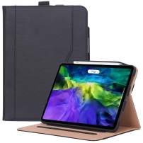 ProCase iPad Pro 11 Case 2nd Generation 2020 & 2018, PU Leather Protective Stand Folio Case Cover with Pencil Holder & Strap [Support Apple Pencil 2 Charging] for iPad Pro 11 Inch 2020 & 2018 –Black