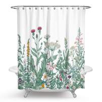 """QCWN Floral Shower Curtain, Floral Border Herbs and Wild Flowers Botanical Engraving Style Colorful Field Vegetation Summer Shower Curtain Bathroom Decor (Botanical Wild Flower#2, 70"""" L70 W)"""