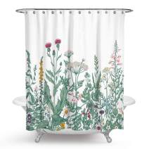 """QCWN Floral Shower Curtain, Floral Border Herbs and Wild Flowers Botanical Engraving Style Colorful Field Vegetation Summer Shower Curtain Bathroom Decor (Botanical Wild Flower#2, 59"""" L70 W)"""