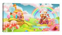 LightFairy Wall Art for Living Room - Glow in The Dark Canvas Painting - Stretched and Framed Giclee Print - Sweet Candy Land - Wall Decorations for Bedroom - 32 x 16 inch