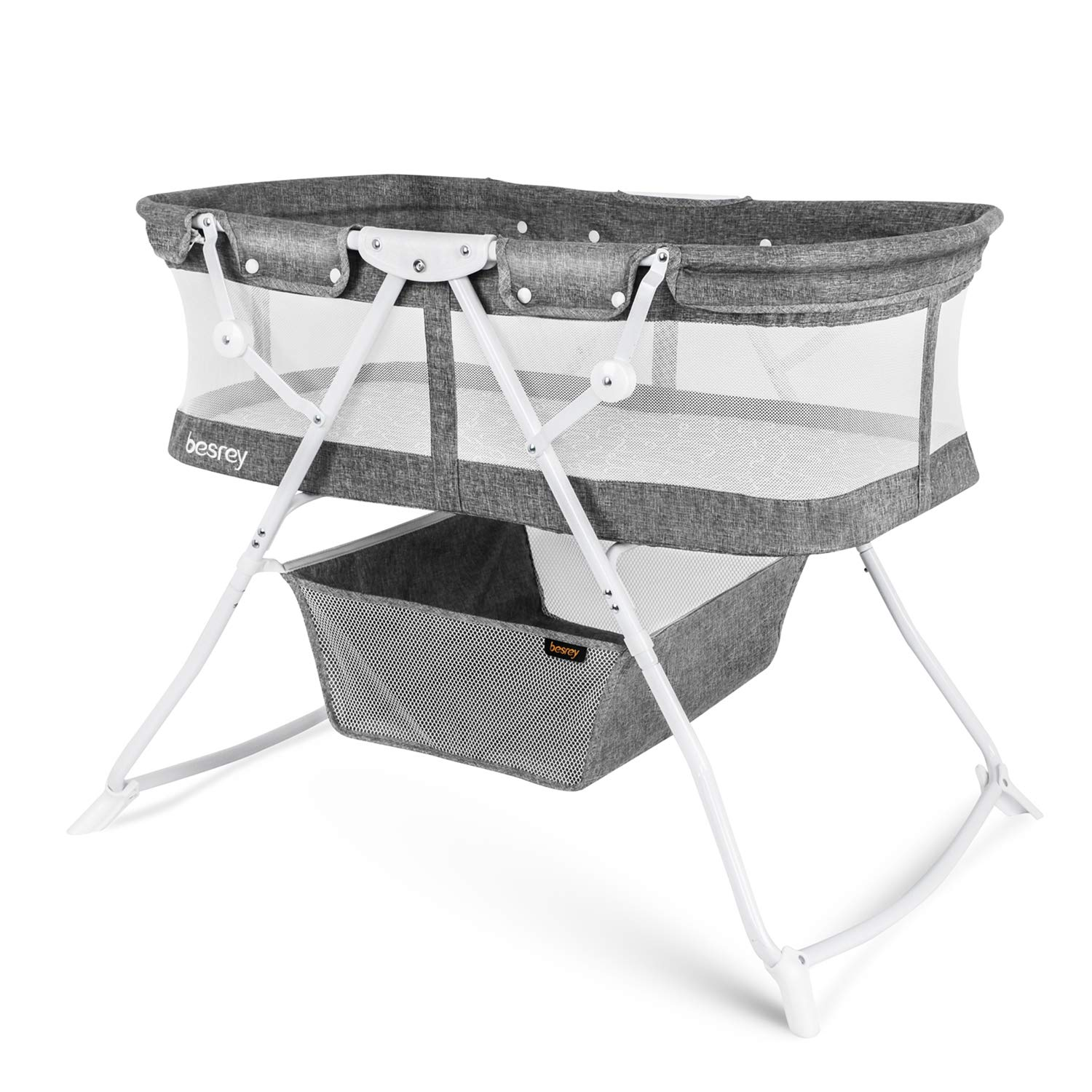 besrey Baby Bassinet Baby Bed with Breathable Net/Harmless Mattress/Quick Foldable Design for up 33 lbs/ 5 Months Infant, Baby - Grey