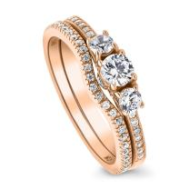 BERRICLE Rose Gold Plated Sterling Silver Round Cubic Zirconia CZ 3-Stone Anniversary Engagement Wedding Ring Set 0.71 CTW