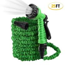 ActionEliters Expandable Garden Hose, Flexible Water Hose 7 Functions Hose Nozzles with Lightweight Triple Latex Core and Advanced Strength Fabric Protection for Gardening Car Washing (Green 25ft)