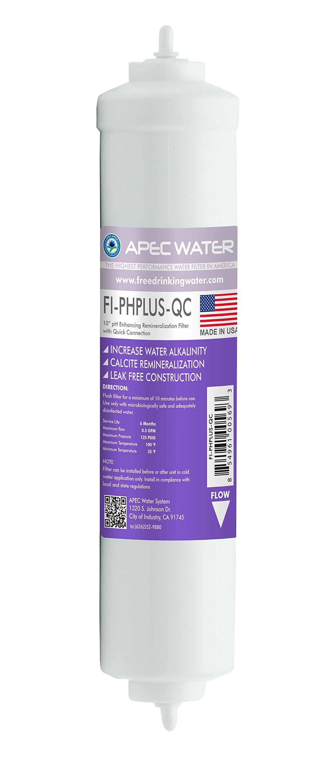 """APEC FI-PHPLUS-QC US MADE 10"""" High Purity pH+ Calcium Carbonate Alkaline Filter with ¼"""" Quick Connect For Reverse Osmosis Water Filter System (For Standard System, Replacement Filter Only)"""