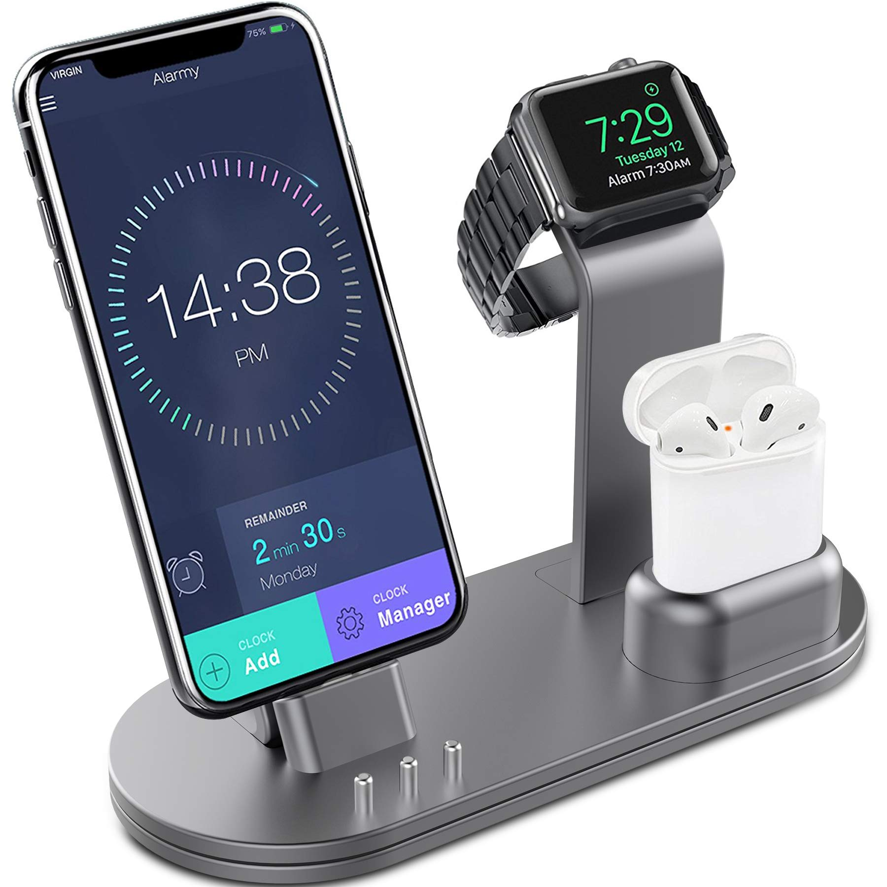 OLEBR Charging Stand Aluminum Alloy Charging Docks Suitable for iWatch Series 4/3/2/1/ AirPods/iPhone Xs/iPhone Xs Max/iPhone XR/X/8/8Plus/7/7 Plus /6S /6S Plus/iPad-Space Gray