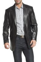 BGSD Men's Steven Classic Lambskin Leather Blazer (Regular Big & Tall and Short)