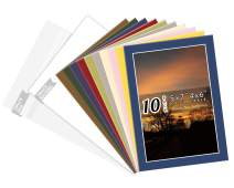 Golden State Art, Pack of 10 Mix Pre-Cut 5x7 Picture Mat for 4x6 Photo with White Core Bevel Cut Mattes Sets. Includes 10 High Premier Acid Free Bevel Cut Matts & 10 Backing Board & 10 Clear Bags
