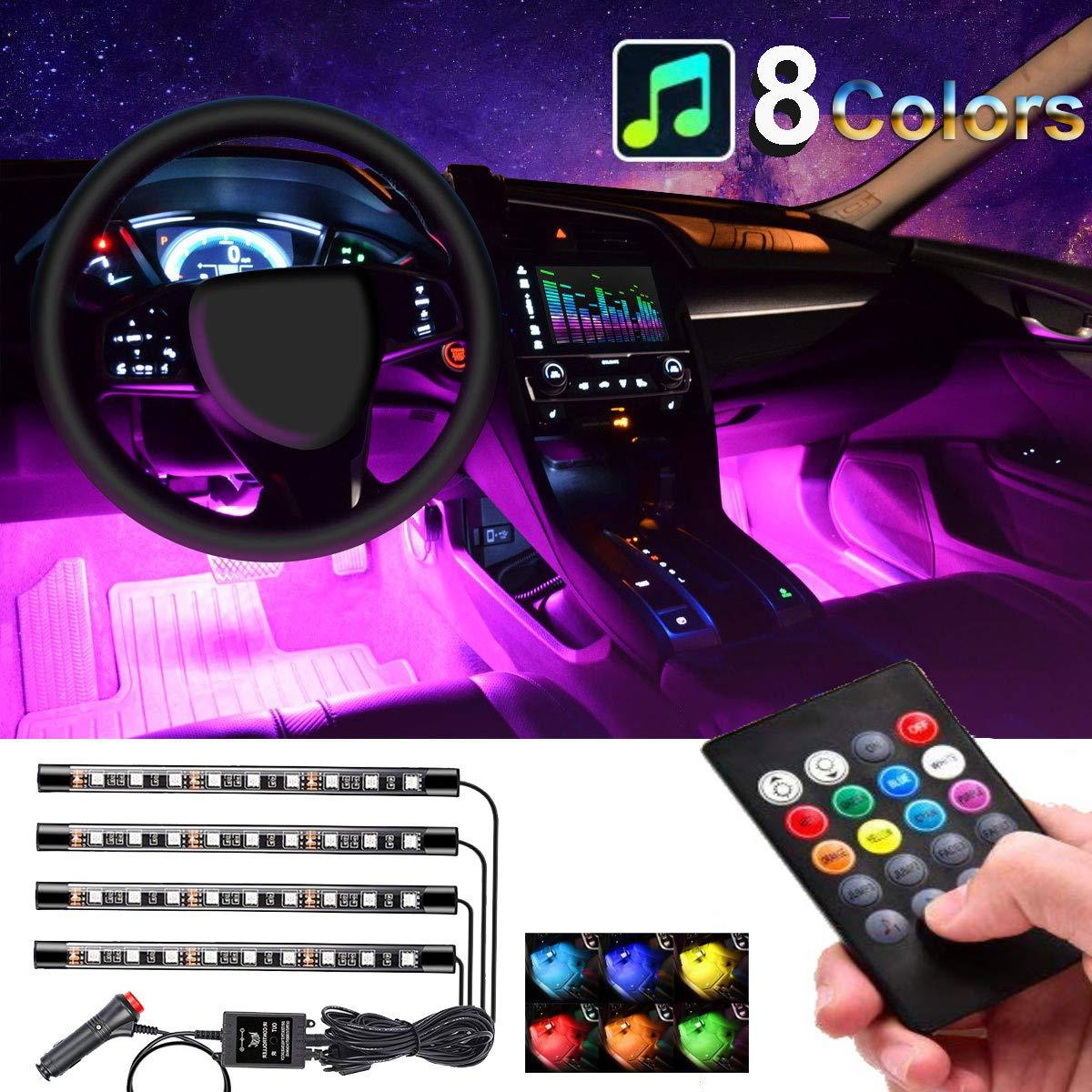 Car Interior Lights 4pcs 36 LED Car Floor Atmosphere Glow Neon lights Multi-Color Music Car LED Strip Lights Decorative Underdash Lighting Kit with Sound Active function Wireless Remote Control DC 12V