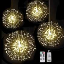 FOOING 4 Pack 198 led Firework Copper Wire Lights,8 Modes Dimmable String Fairy Lights with Remote Control,Battery Operated Hanging Starburst Lights Waterproof for Parties Home Outdoor Decoration