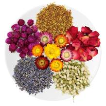 TAEERY Bulk Botanical Dried Herbs and Flowers for DIY Soap Making Scents Kits,Candle Making,Bath Bombs includs Rosebuds,Lavender,Osmanthus,Jasmine,Globe Amaranth,Color Chrysanthemum Set (6 Pack)