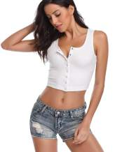FENSACE Womens Button Down Long Sleeve Crop Top