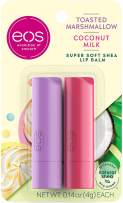 eos Super Soft Shea Stick Lip Balm - Toasted Marshmallow and Coconut Milk | Deeply Hydrates and Seals in Moisture | Sustainably-Sourced Ingredients | 0.14 oz | 2-Pack