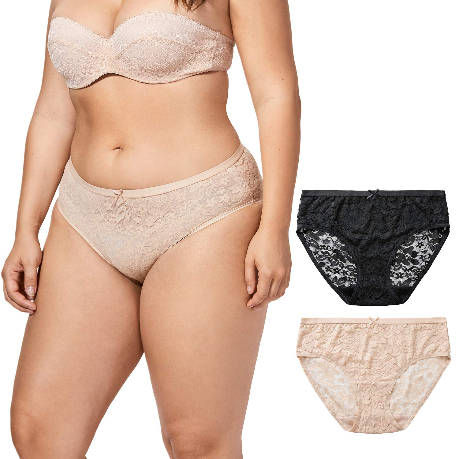 DELIMIRA Women's Underwear Lace Hipster Plus Size Sexy Panties for Women, 2 Pack