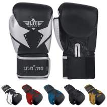Elite Sports Muay Thai Gloves, Men's, Women's Best Kickboxing Pair of Breathable Gloves