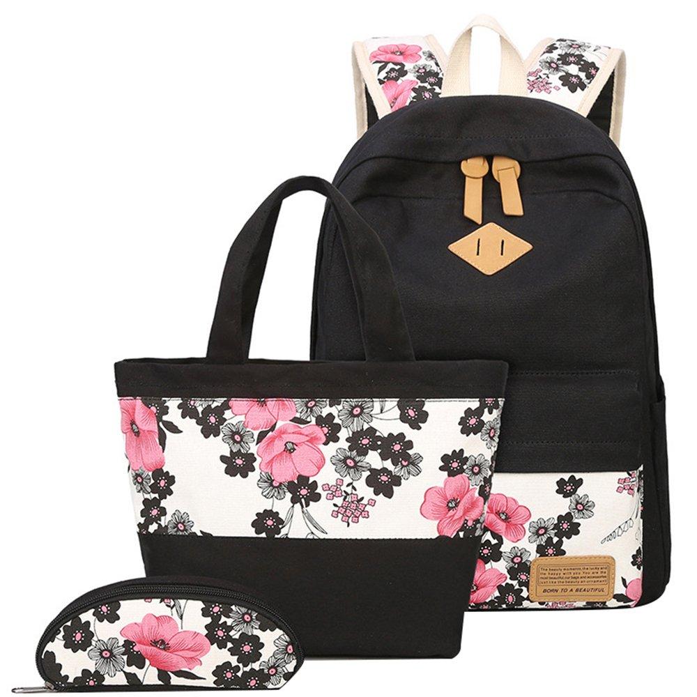 JiaYou Canvas Laptop Bag Shoulder Bag Pen Bag School Backpack 3 Sets (StlyeB Flower,14L)