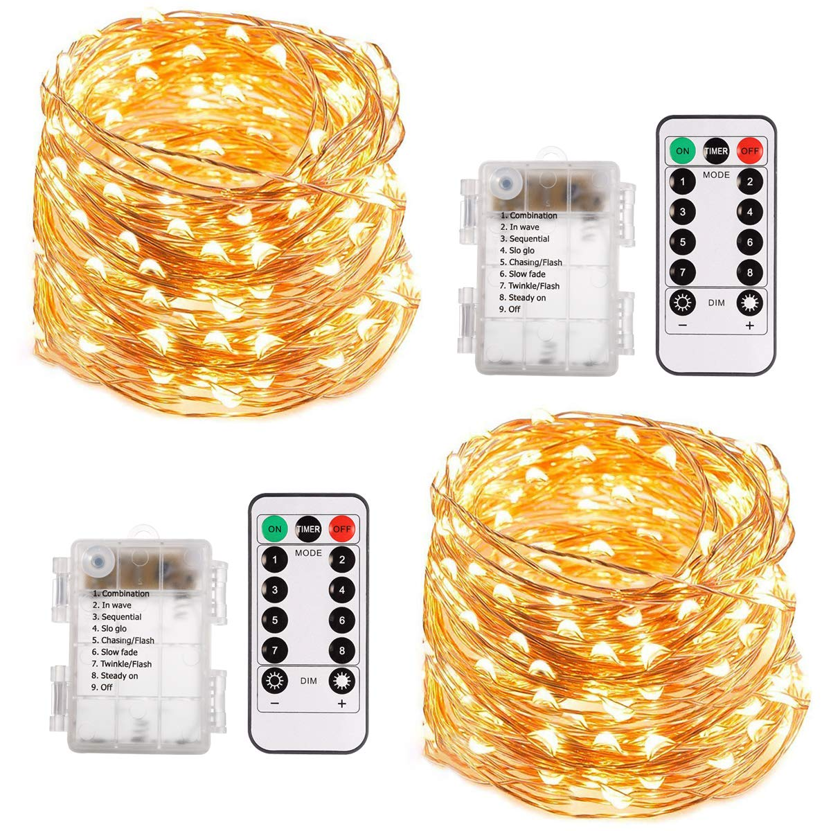 ECOWHO String Lights, 66ft 200 LED Battery Powered Fairy Lights, 8 Lighting Modes, Decorative Warm White Lights for Bedroom, Patio, Garden, Wedding (2 Pack)
