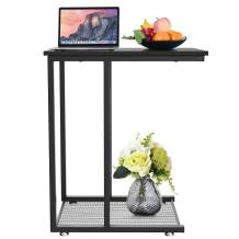 YITAHOME C-Shaped Couch Table End Table with Metal Sofa Side Table for Living Room Kitchen Couch On Casters, Easy Assembly, Black