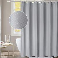 AooHome Stall Size Fabric Shower Curtain, 36 Width by 72 Height Inch Waffle Weave Pattern Bathroom Curtain with Hooks, Weighted Hem, Heavy Duty, Water Repellent, 36x72 Inch, Grey