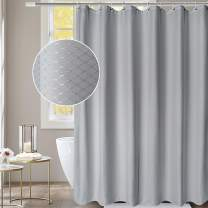 "AooHome Fabric Waffle Weave Shower Curtain, Extra Long 72""x78"" Bath Curtain with Weighted Hem, Heavy Duty, Water Repellent, 72 Width by 78 Height Inch, Grey"