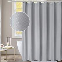 """AooHome Extra Long 86"""" Shower Curtain Fabric Bathroom Curtain Waffle Weave Pattern with Weighted Hem, Heavyweight, Water Repellent, 72 Width by 86 Height Inch, Gray"""