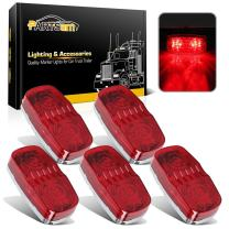 Partsam 5x Oblong Side Marker Lamp Red Lens for Side Turn Signal Marker Front Replacement