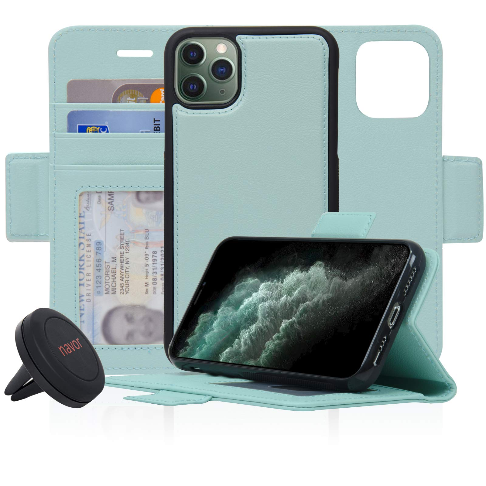 Navor Universal car Mount & Detachable Magnetic Wallet Case with RFID Protection Compatible for iPhone 11 Pro [5.8 inch] [Vajio Series] - Mint [IP11PROVJKTMN]