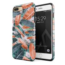 BURGA Phone Case Compatible with iPhone 7 Plus / 8 Plus - Tropical Banana Tree Leaves Palm Leaf Exotic Colorful Palms Summer Heavy Duty Shockproof Dual Layer Hard Shell + Silicone Protective Cover