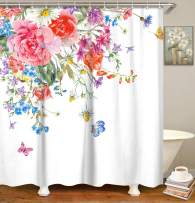 LIVILAN Floral Shower Curtain for Bathroom, Flowers Fabric Bath Curtain for Shower Stall with Hooks Polyester Machine Washable 72x72 Inches Decorative
